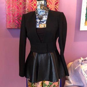 Awesome Zara black blazer with leather peplum